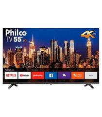smart tv led 55 philco ptv55q20snbl ultra hd 4k hdr borda infinita 4k cinza bivolt