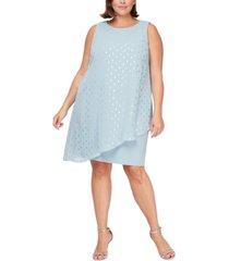 sl fashions plus size asymmetrical-overlay sheath dress
