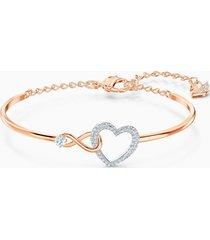 bracciale rigido swarovski infinity heart, bianco, mix di placcature
