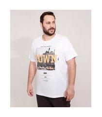 """camiseta de algodão plus size nyc"""" manga curta gola careca branca"""""""