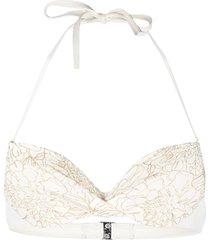 ermanno scervino gold embroidered detail bikini top - white