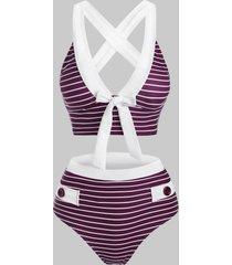 striped mock button criss cross bowknot tankini swimwear