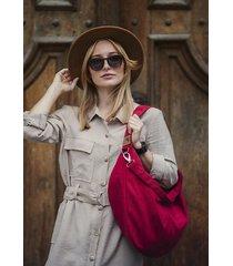 czerwona torba worek z zamszu eko