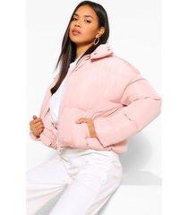 funnel neck wrap puffer jacket, dusky pink