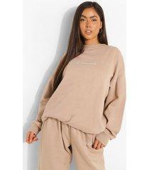 woman oversized geborduurde sweater met tekst, taupe