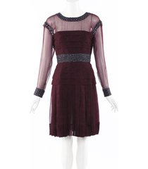 chanel sheer pleated silk tweed dress red sz: s