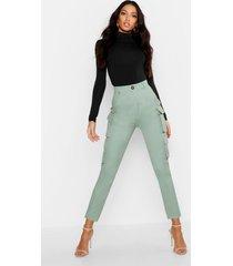 skinny broek met hoge taille en zakdetail, salie