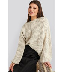 na-kd trend balloon sleeve melange sweater - beige
