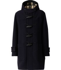 burberry check-lined duffle coat - blue