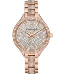 women's kendall + kylie rose gold tone crystal embellished stainless steel strap analog watch 40mm