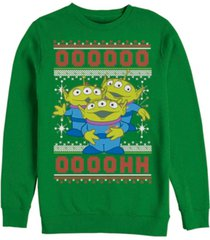 disney pixar men's toy story aliens ugly christmas sweater, crewneck fleece