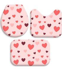 kit 3 tapetes decorativos para banheiro wevans coração rosa