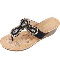accesorios de perlas sandalias antideslizantes para mujer-negro