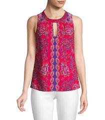 paisley floral sleeveless blouse