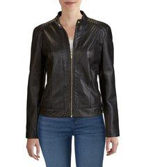 cole haan women's leather moto jacket - black - size xl