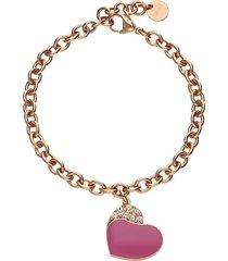 bracciale lady sweet acciaio rosato cuore e cristalli per donna