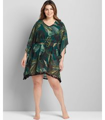 lane bryant women's printed cover-up dress 26/28 botanical palm