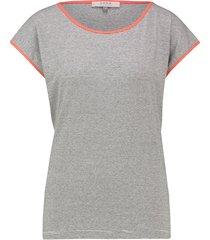 l.o.e.s. 20316 1134 loes raquel stripe top off white/coral rood