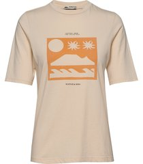 ams blauw easy tee with various artworks t-shirts & tops short-sleeved beige scotch & soda