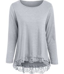 charming lace spliced hem long sleeve gray t-shirt for women