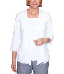 alfred dunner petite bella vista layered-look lace-trim top
