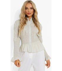 plisse blouse met knopen en franjes, sage