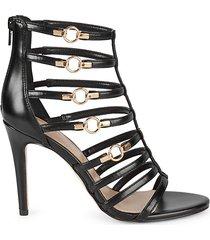 jean faux leather stiletto sandals