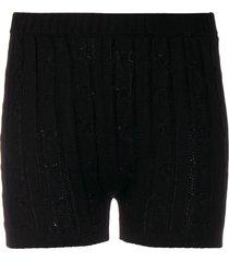 giuseppe di morabito cable knit ribbed detail shorts - black