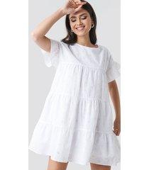 na-kd boho broiderie anglais mini dress - white