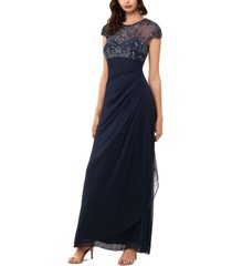xscape beaded-top gown