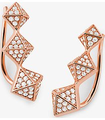 mk orecchini ear cuff in argento sterling con placcatura in metallo prezioso pavé e piramidi - rosa chiaro (rosa) - michael kors