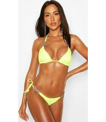 diamante trim triangle bikini, neon-yellow