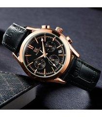 reloj, relojes para hombre quartz real nail scale leather-
