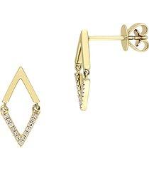 saks fifth avenue women's 14k yellow gold & diamond geometric drop earrings