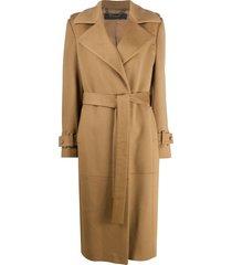 federica tosi belted camel coat - neutrals