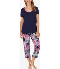 nautica solid t-shirt & printed capri pants pajama set