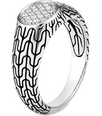 'classic chain' diamond silver signet ring