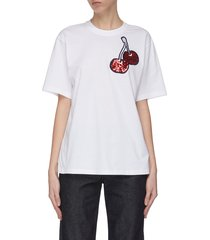 cherry sequin embroidered t-shirt