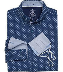 con. struct navy flower dot slim fit sport shirt with mask