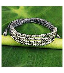 silver accent wristband bracelet, 'misty chiang mai quartet' (thailand)