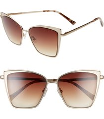 women's diff becky 57mm cat eye sunglasses - rose gold/ wine