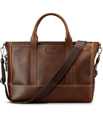 men's shinola navigator leather briefcase - brown