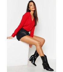 blouse met v-hals, rood