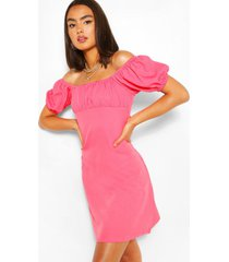 bust sleeve rouched bust swing dress, coral
