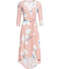 abito lungo asimmetrico con cintura (rosa) - bodyflirt boutique
