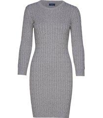stretch cotton cable dress kort klänning grå gant
