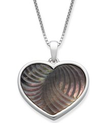 "black mother of pearl 16x13mm heart shaped pendant with 18"" chain in sterling silver"