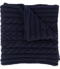 moncler chunky knit scarf - blue