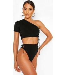 one shoulder cut out high waist bikini