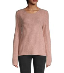 vince women's fitted ribbed wool-blend sweater - moss glow - size xs